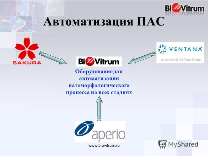 www.biovitrum.ru Автоматизация ПАС Оборудование для автоматизации патоморфологического процесса на всех стадиях