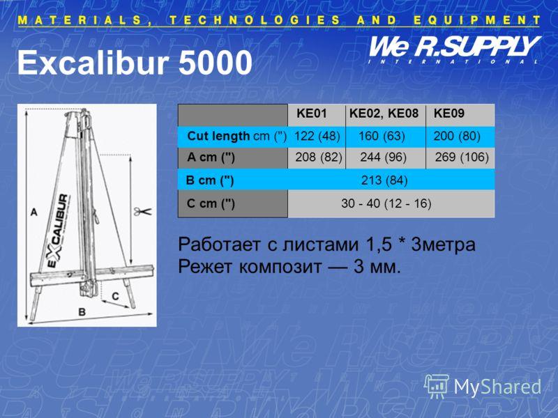 Excalibur 5000 Работает с листами 1,5 * 3метра Режет композит 3 мм. Cut length cm () 122 (48) 160 (63) 200 (80) A cm () 208 (82) 244 (96) 269 (106) B cm () 213 (84) C cm () 30 - 40 (12 - 16) KE01 KE02, KE08 KE09