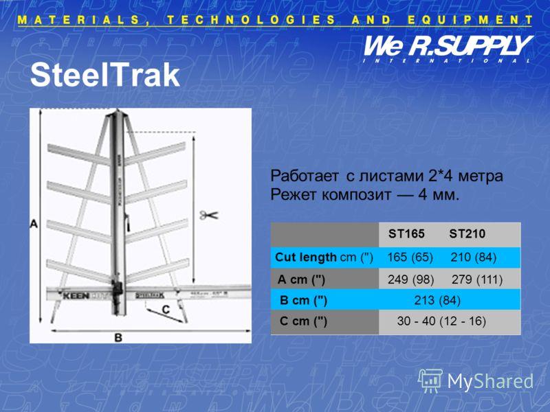 SteelTrak Cut length cm () 165 (65) 210 (84) A cm () 249 (98) 279 (111) B cm () 213 (84) C cm () 30 - 40 (12 - 16) ST165 ST210 Работает с листами 2*4 метра Режет композит 4 мм.
