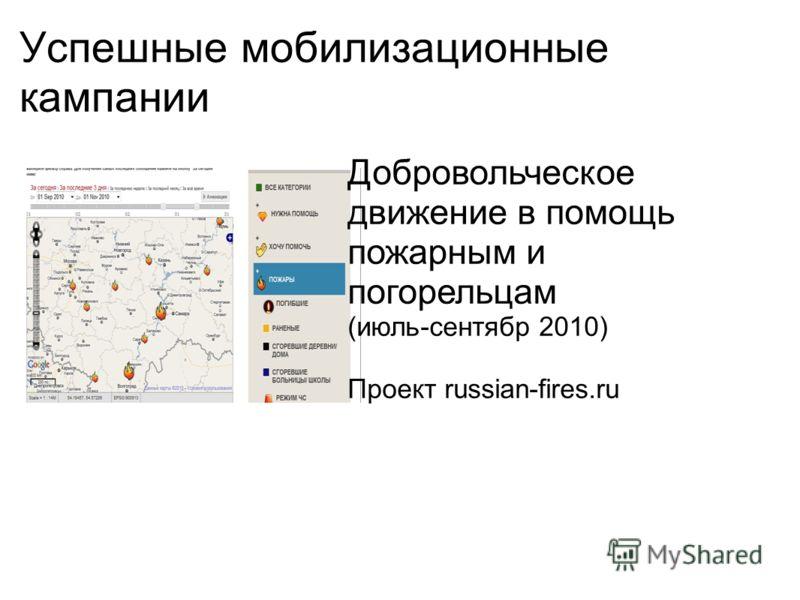 Успешные мобилизационные кампании Добровольческое движение в помощь пожарным и погорельцам (июль-сентябр 2010) Проект russian-fires.ru