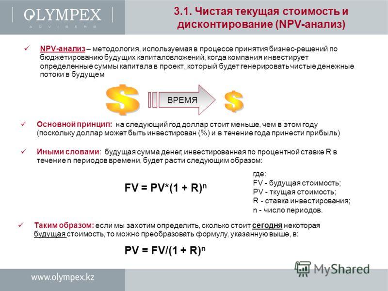3.1. Чистая текущая стоимость и дисконтирование (NPV-анализ) NPV-анализ – методология, используемая в процессе принятия бизнес-решений по бюджетированию будущих капиталовложений, когда компания инвестирует определенные суммы капитала в проект, которы