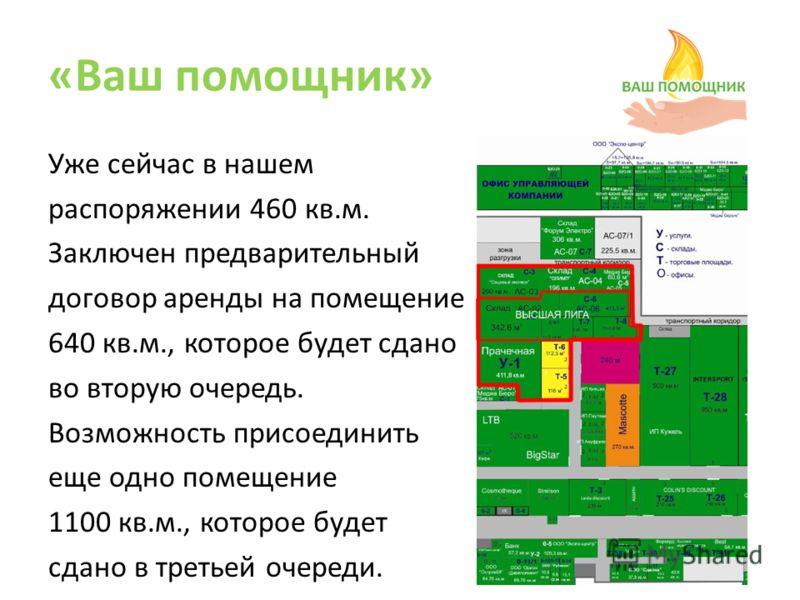 Уже сейчас в нашем распоряжении 460 кв.м. Заключен предварительный договор аренды на помещение 640 кв.м., которое будет сдано во вторую очередь. Возможность присоединить еще одно помещение 1100 кв.м., которое будет сдано в третьей очереди.