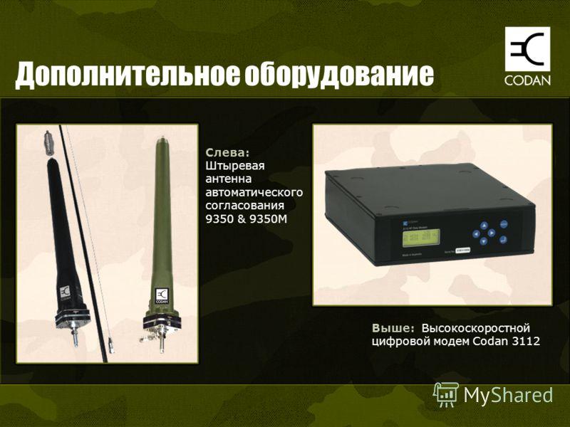 Дополнительное оборудование Выше: Высокоскоростной цифровой модем Codan 3112 Слева: Штыревая антенна автоматического согласования 9350 & 9350M