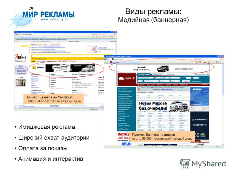 Виды рекламы: Медийная (баннерная) Пример: Баннера на Yandex.ru 6 000 000 посетителей каждый день Пример: Баннера на auto.ru около 60 000 посетителей каждый день Имиджевая реклама Широкий охват аудитории Оплата за показы Анимация и интерактив