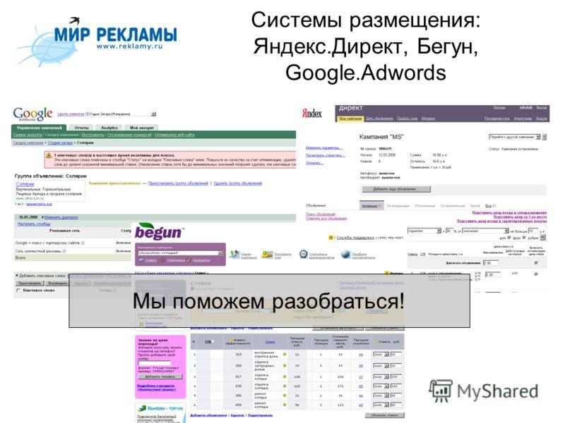 Системы размещения: Яндекс.Директ, Бегун, Google.Adwords Мы поможем разобраться!