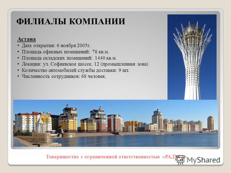 Товарищество с ограниченной ответственностью «РАДУГА» Астана Дата открытия: 6 ноября 2005г. Площадь офисных помещений: 78 кв.м. Площадь складских помещений: 1440 кв.м. Локация: ул. Софиевское шоссе, 12 (промышленная зона) Количество автомобилей служб
