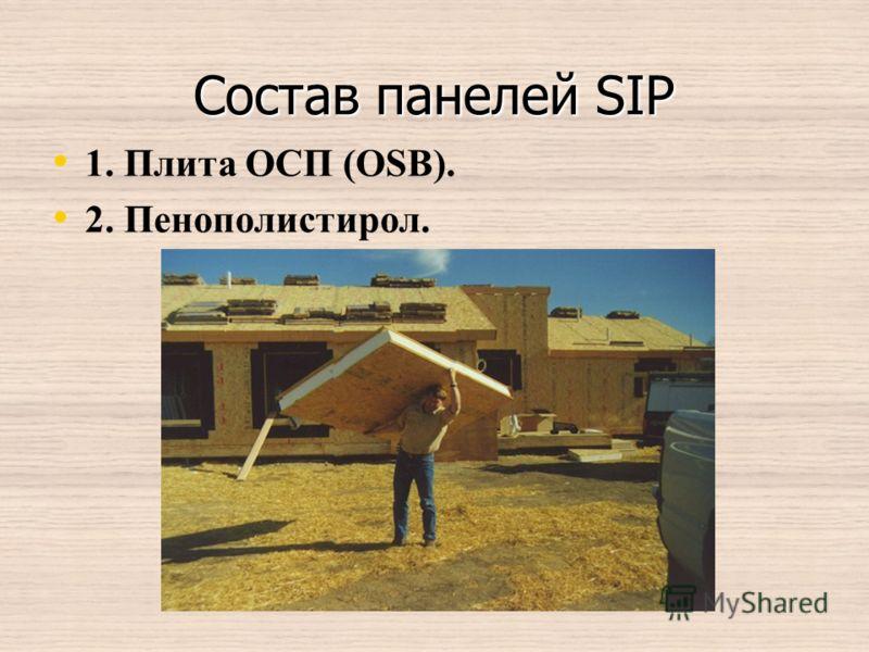 Состав панелей SIP 1. Плита ОСП (OSB). 2. Пенополистирол.