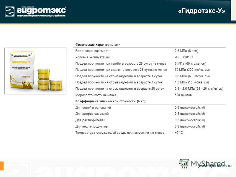 «Гидротэкс-У» Физические характеристики Водонепроницаемость0,8 МПа (8 атм) Условия эксплуатации-40…+90° С Предел прочности при изгибе в возрасте 28 суток не менее6 МПа (60 кгс/кв. см) Предел прочности при сжатии в возрасте 28 суток не менее30 МПа (30