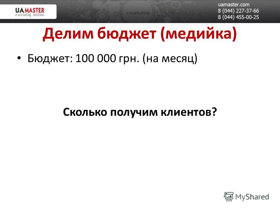 Делим бюджет (медийка) Бюджет: 100 000 грн. (на месяц) Сколько получим клиентов?