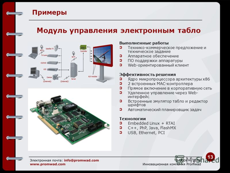 13 Примеры Выполненные работы Технико-коммерческое предложение и техническое задание Аппаратное обеспечение ПО поддержки аппаратуры Web-ориентированный клиент Эффективность решения Ядро микропроцессора архитектуры x86 2 встроенных MAC-контроллера Пря