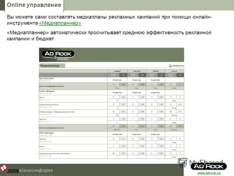 Online управление Вы можете сами составлять медиапланы рекламных кампаний при помощи онлайн- инструмента «Медиапланнер»«Медиапланнер» «Медиапланнер» автоматически просчитывает среднюю эффективность рекламной кампании и бюджет www.adrock.ua