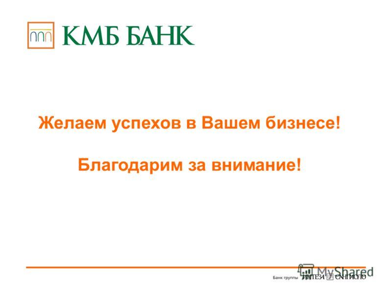 Желаем успехов в Вашем бизнесе! Благодарим за внимание!