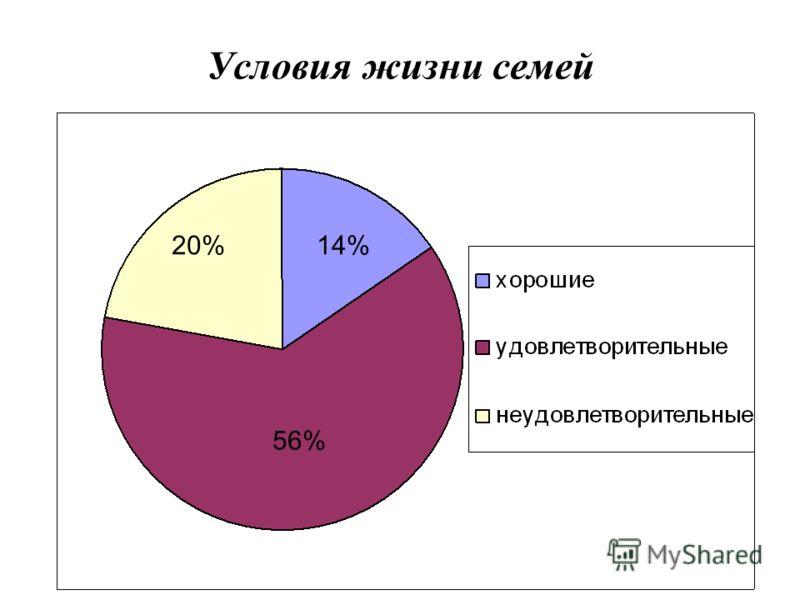 Условия жизни семей 14%20% 56%