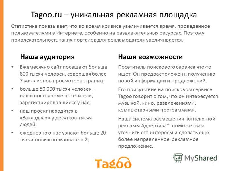 Tagoo.ru – уникальная рекламная площадка Наша аудитория Ежемесячно сайт посещают больше 800 тысяч человек, совершая более 7 миллионов просмотров страниц; больше 50 000 тысяч человек – наши постоянные посетители, зарегистрировавшиеся у нас; наш проект