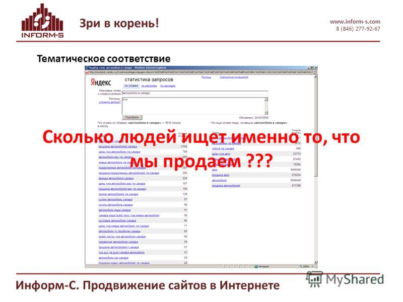 Зри в корень! www.inform-s.com 8 (846) 277-92-67 Информ-С. Продвижение сайтов в Интернете Тематическое соответствие Сколько людей ищет именно то, что мы продаем ???