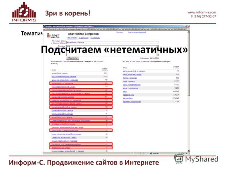 Зри в корень! www.inform-s.com 8 (846) 277-92-67 Информ-С. Продвижение сайтов в Интернете Тематическое соответствие Подсчитаем «нетематичных»