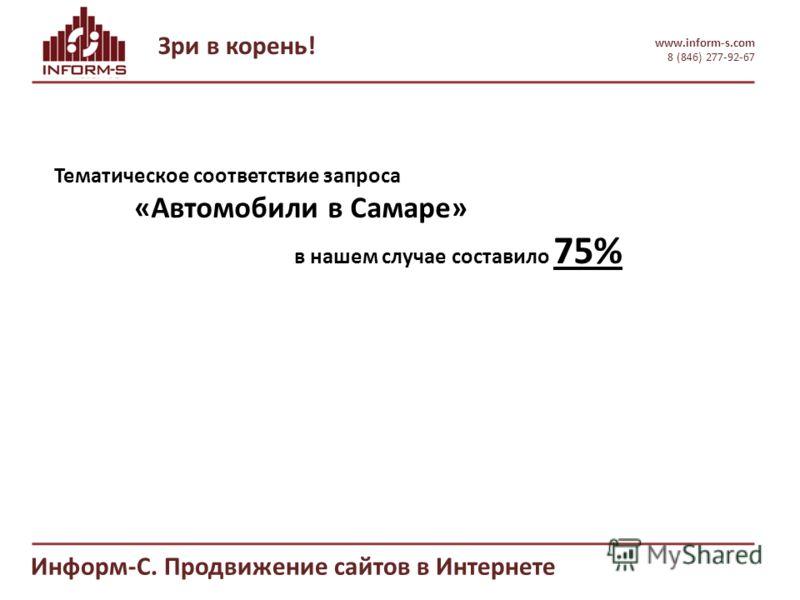 Зри в корень! www.inform-s.com 8 (846) 277-92-67 Информ-С. Продвижение сайтов в Интернете Тематическое соответствие запроса «Автомобили в Самаре» в нашем случае составило 75%