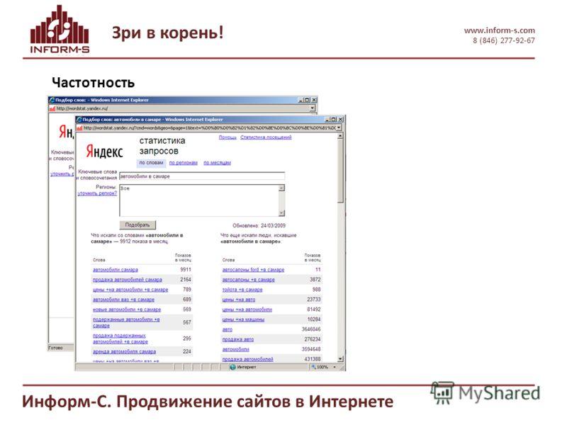 Зри в корень! www.inform-s.com 8 (846) 277-92-67 Информ-С. Продвижение сайтов в Интернете Частотность