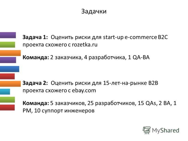 Задачки Задача 1: Оценить риски для start-up e-commerce B2C проекта схожего с rozetka.ru Команда: 2 заказчика, 4 разработчика, 1 QA-BA Задача 2: Оценить риски для 15-лет-на-рынке B2B проекта схожего с ebay.com Команда: 5 заказчиков, 25 разработчиков,