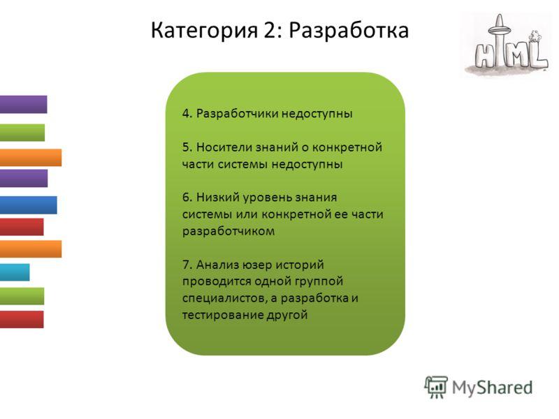 Категория 2: Разработка 4. Разработчики недоступны 5. Носители знаний о конкретной части системы недоступны 6. Низкий уровень знания системы или конкретной ее части разработчиком 7. Анализ юзер историй проводится одной группой специалистов, а разрабо