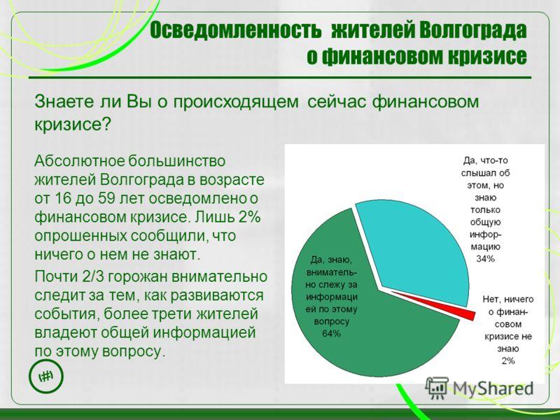 3 Осведомленность жителей Волгограда о финансовом кризисе Абсолютное большинство жителей Волгограда в возрасте от 16 до 59 лет осведомлено о финансовом кризисе. Лишь 2% опрошенных сообщили, что ничего о нем не знают. Почти 2/3 горожан внимательно сле