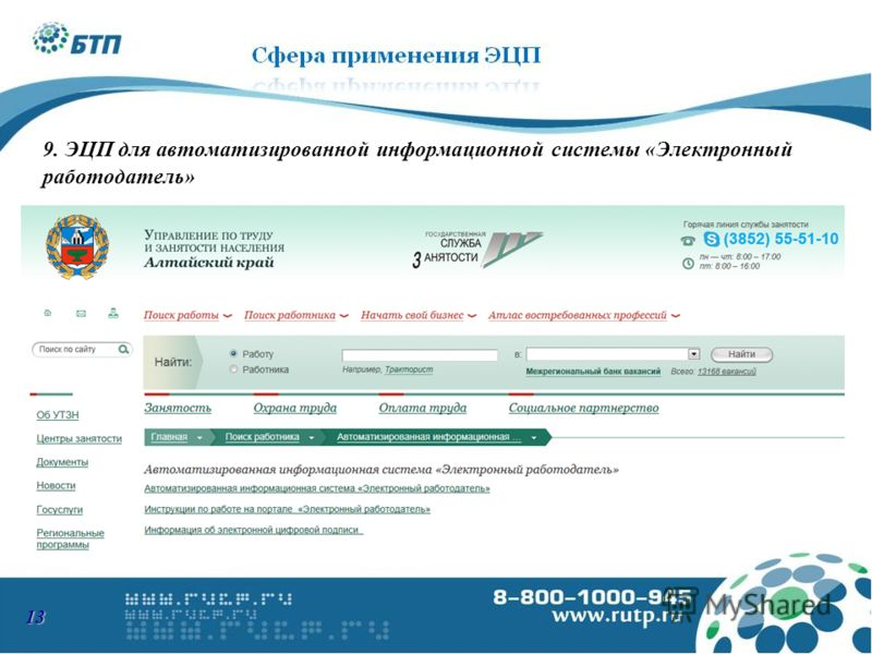 9. ЭЦП для автоматизированной информационной системы «Электронный работодатель» 13
