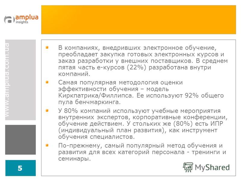 www.amplua.com.ua 5 В компаниях, внедривших электронное обучение, преобладает закупка готовых электронных курсов и заказ разработки у внешних поставщиков. В среднем пятая часть е-курсов (22%) разработана внутри компаний. Самая популярная методология