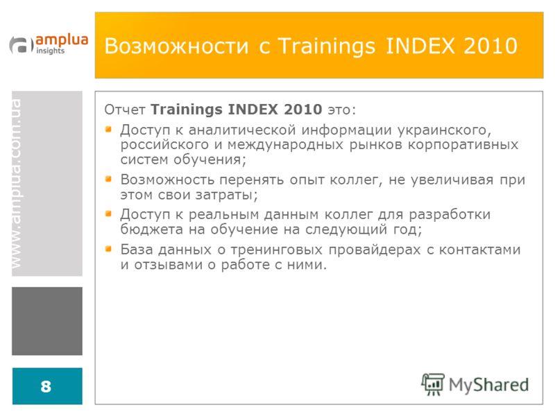 www.amplua.com.ua 8 Возможности с Trainings INDEX 2010 Отчет Trainings INDEX 2010 это: Доступ к аналитической информации украинского, российского и международных рынков корпоративных систем обучения; Возможность перенять опыт коллег, не увеличивая пр