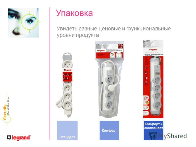 Упаковка CONFORT Увидеть разные ценовые и функциональные уровни продукта Стандарт Комфорт Комфорт и Безопасность On all the line Security