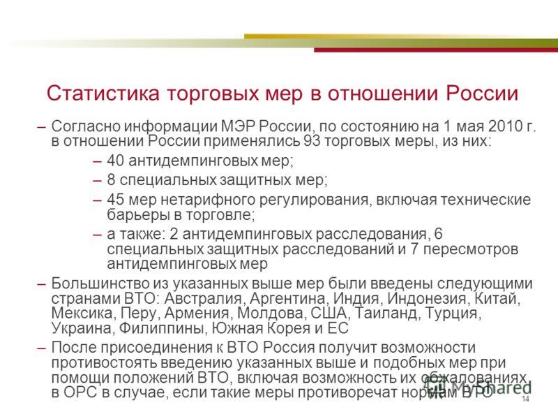 14 Статистика торговых мер в отношении России –Согласно информации МЭР России, по состоянию на 1 мая 2010 г. в отношении России применялись 93 торговых меры, из них: –40 антидемпинговых мер; –8 специальных защитных мер; –45 мер нетарифного регулирова