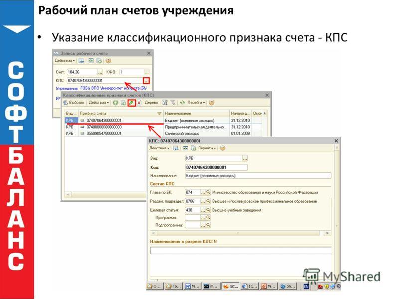 Рабочий план счетов учреждения Указание классификационного признака счета - КПС