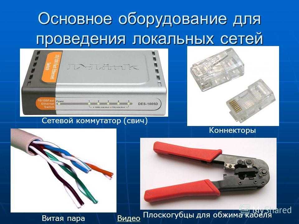 Основное оборудование для проведения локальных сетей Коннекторы Сетевой коммутатор (свич) Витая пара Плоскогубцы для обжима кабеля Видео