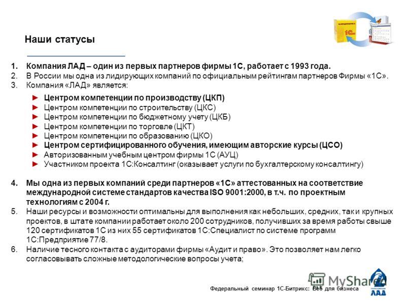 Федеральный семинар 1С-Битрикс: Веб для бизнеса Наши статусы 1.Компания ЛАД – один из первых партнеров фирмы 1С, работает с 1993 года. 2.В России мы одна из лидирующих компаний по официальным рейтингам партнеров Фирмы «1С». 3.Компания «ЛАД» является: