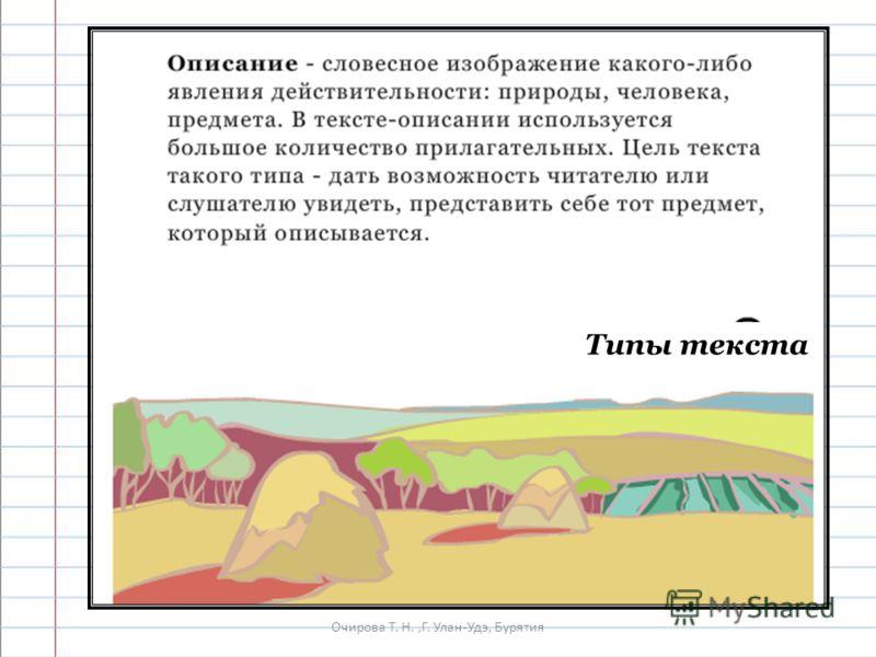 Очирова Т. Н.,Г. Улан-Удэ, Бурятия Типы текста