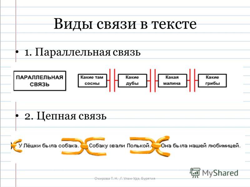 Очирова Т. Н.,Г. Улан-Удэ, Бурятия Виды связи в тексте 1. Параллельная связь 2. Цепная связь