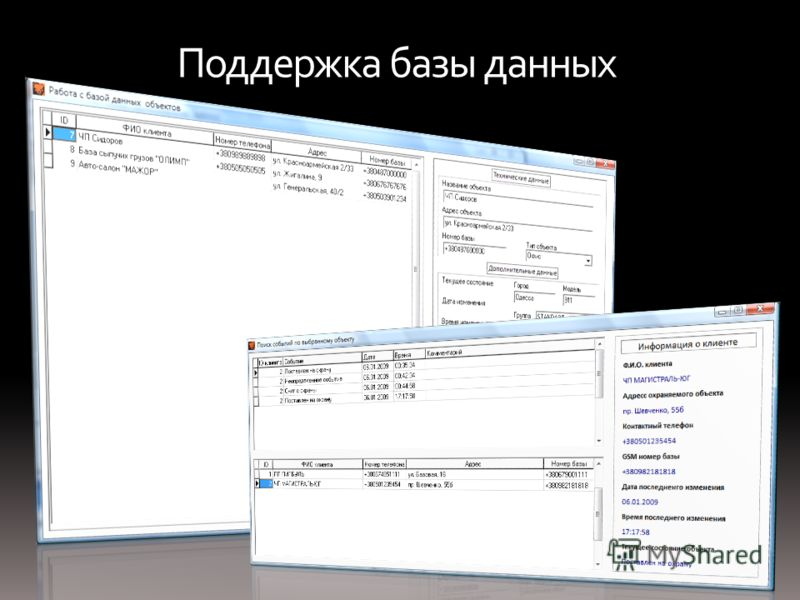 Поддержка базы данных
