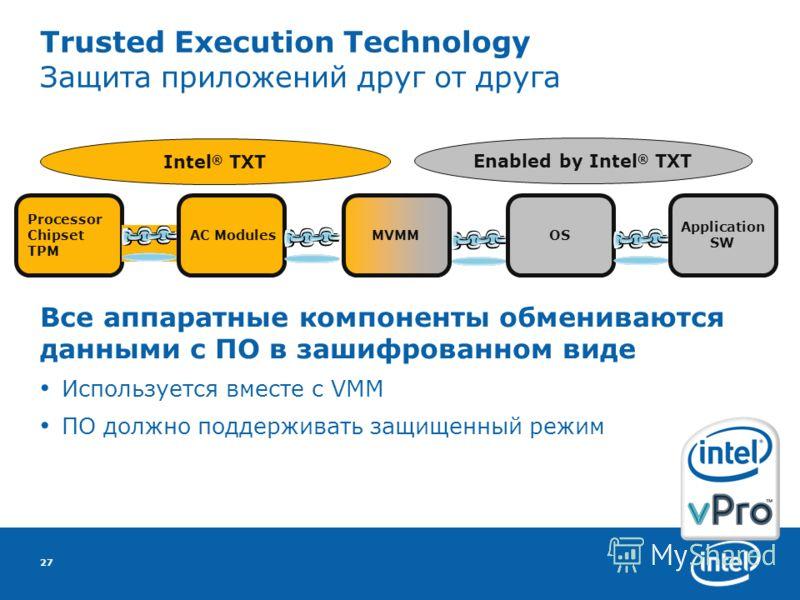 27 Trusted Execution Technology Защита приложений друг от друга Все аппаратные компоненты обмениваются данными с ПО в зашифрованном виде Используется вместе с VMM ПО должно поддерживать защищенный режим Processor Chipset TPM AC ModulesOSMVMM Applicat