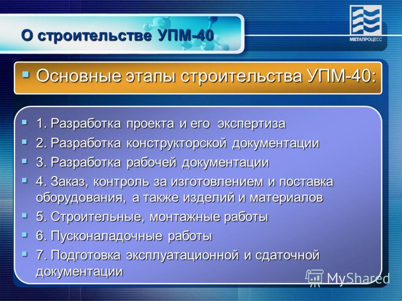 Основные этапы строительства УПМ-40: Основные этапы строительства УПМ-40: 1. Разработка проекта и его экспертиза 1. Разработка проекта и его экспертиза 2. Разработка конструкторской документации 2. Разработка конструкторской документации 3. Разработк