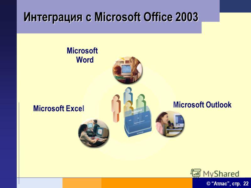 © Атлас, стр. 22 Интеграция с Microsoft Office 2003 Microsoft Word Microsoft Excel Microsoft Outlook