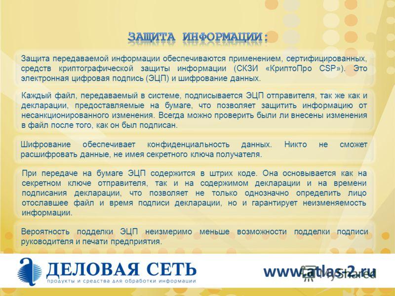 www.atlas-2.ru Вероятность подделки ЭЦП неизмеримо меньше возможности подделки подписи руководителя и печати предприятия. При передаче на бумаге ЭЦП содержится в штрих коде. Она основывается как на секретном ключе отправителя, так и на содержимом дек