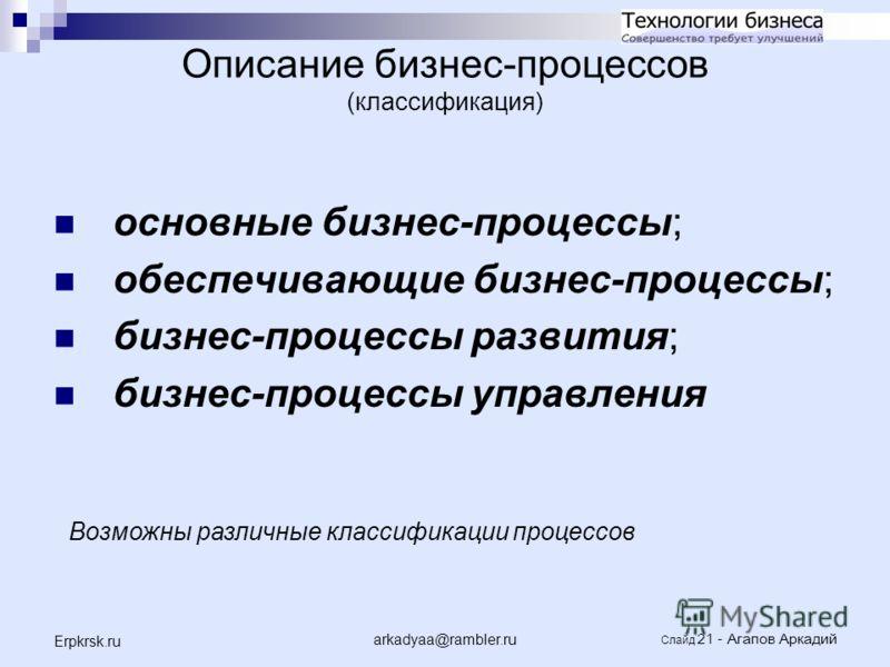 arkadyaa@rambler.ru Слайд 21 - Агапов Аркадий Erpkrsk.ru Описание бизнес-процессов (классификация) основные бизнес-процессы; обеспечивающие бизнес-процессы; бизнес-процессы развития; бизнес-процессы управления Возможны различные классификации процесс