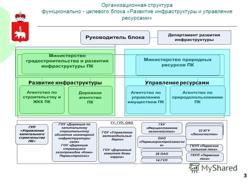 3 Организационная структура функционально - целевого блока «Развитие инфраструктуры и управление ресурсами» Развитие инфраструктуры Управление ресурсами