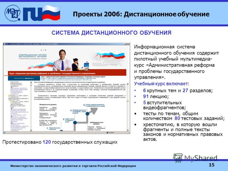 Министерство экономического развития и торговли Российской Федерации 15 Проекты 2006: Дистанционное обучение 6 крупных тем и 27 разделов; 91 лекцию; 5 вступительных видеофрагментов; тесты по темам, общим количеством 80 тестовых заданий; хрестоматию,