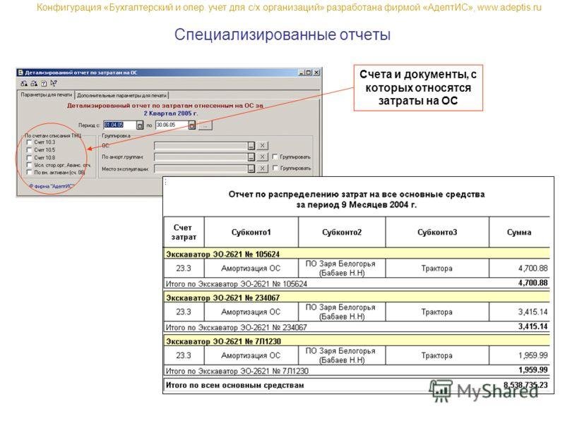 Специализированные отчеты Счета и документы, с которых относятся затраты на ОС Конфигурация «Бухгалтерский и опер. учет для с/х организаций» разработана фирмой «АдептИС», www.adeptis.ru