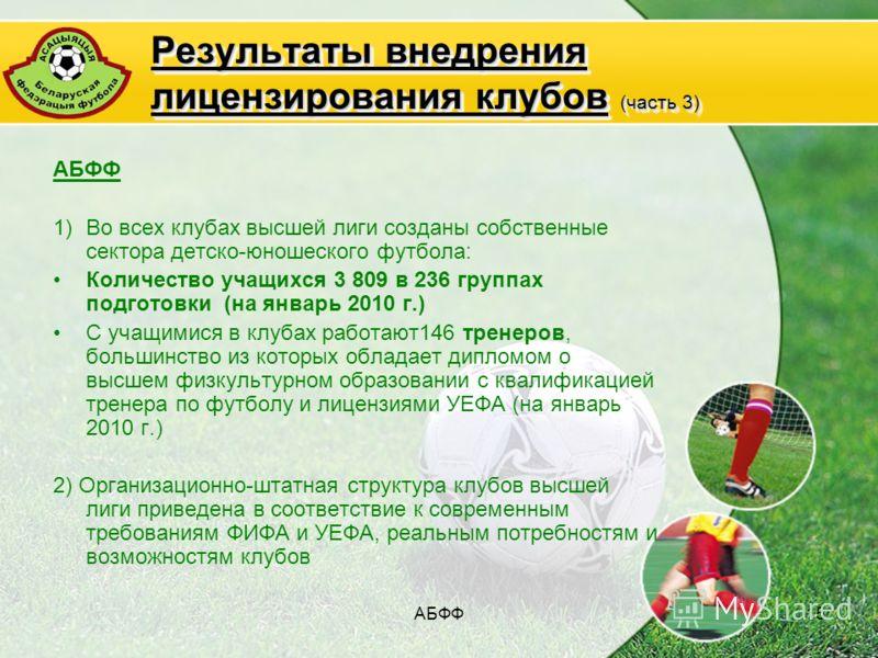 АБФФ15 Результаты внедрения лицензирования клубов (часть 3) АБФФ 1)Во всех клубах высшей лиги созданы собственные сектора детско-юношеского футбола: Количество учащихся 3 809 в 236 группах подготовки (на январь 2010 г.) С учащимися в клубах работают1