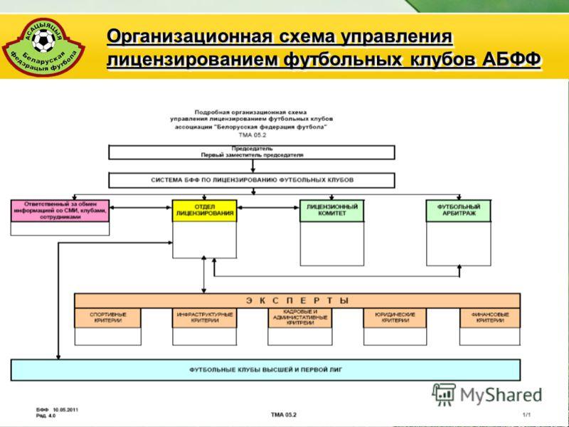 АБФФ18 Организационная схема управления лицензированием футбольных клубов АБФФ