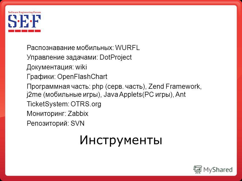 Распознавание мобильных: WURFL Управление задачами: DotProject Документация: wiki Графики: OpenFlashChart Программная часть: php (серв. часть), Zend Framework, j2me (мобильные игры), Java Applets(PC игры), Ant TicketSystem: OTRS.org Мониторинг: Zabbi