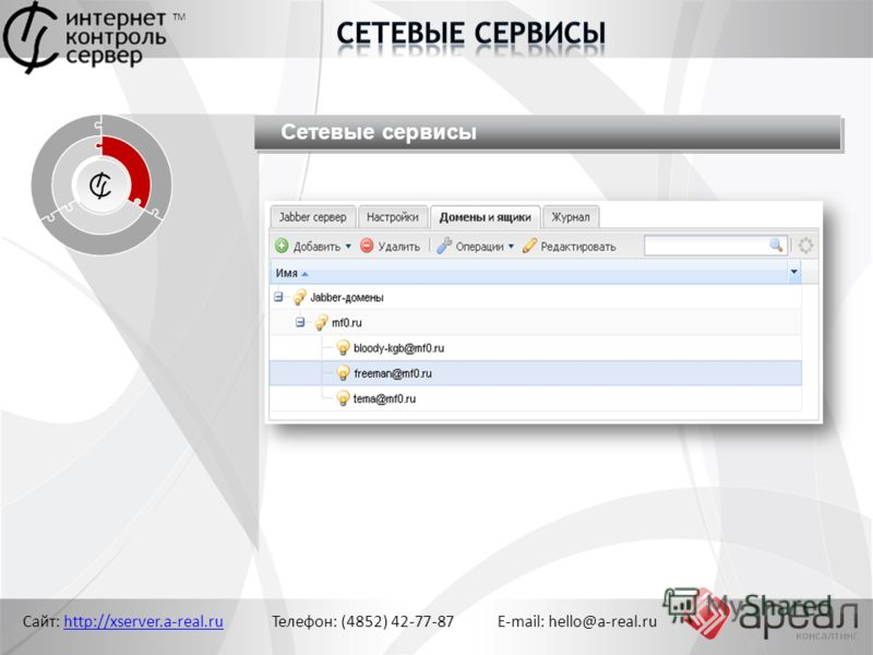 Сайт: http://xserver.a-real.ru Телефон: (4852) 42-77-87 E-mail: hello@a-real.ruhttp://xserver.a-real.ru ТМ Сетевые сервисы