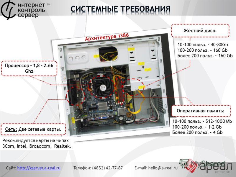 Архитектура i386 Сайт: http://xserver.a-real.ru Телефон: (4852) 42-77-87 E-mail: hello@a-real.ruhttp://xserver.a-real.ru Рекомендуется карты на чипах 3Com, Intel, Broadcom, Realtek. Жесткий диск: Процессор – 1,8 - 2.66 Ghz Оперативная память: 10-100