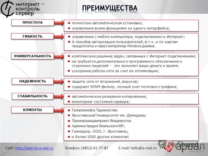 Сайт: http://xserver.a-real.ru Телефон: (4852) 42-77-87 E-mail: hello@a-real.ruhttp://xserver.a-real.ru ТМ ПРОСТОТАПРОСТОТА полностью автоматическая установка; управление всеми функциями из одного интерфейса; полностью автоматическая установка; управ